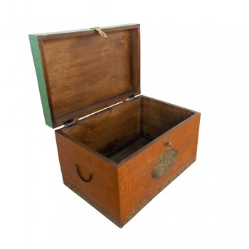 Distressed Painted Wooden Treasure Box With Embossed Brass Art Work - Large