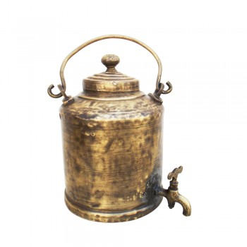 Indian Railway Station Chai Wala Style Vintage Brass Chai Ketali (Tea Kettle)