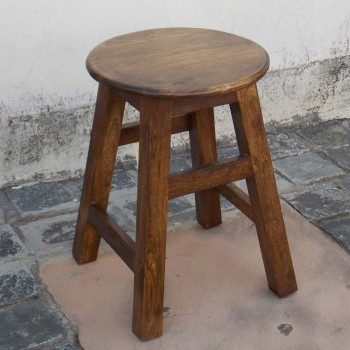Round Top Traditional Stool - Polished