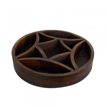 Wooden Round Tray with Curved Partitions
