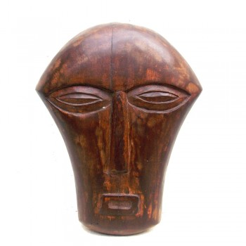 Natural Brown Polished Wooden Tribal Face - Decorative Wall Piece