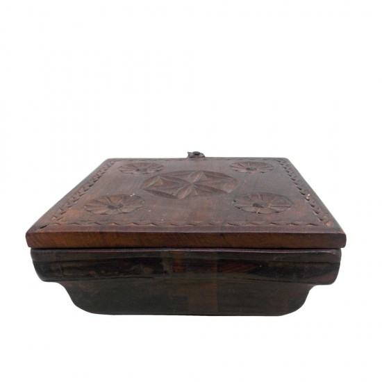 Sliding Top Vintage Wooden Spice Box - 4 Partitions