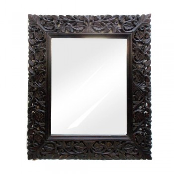 Hand Carved Wooden Floral Art Mirror Frame- Weathered Black