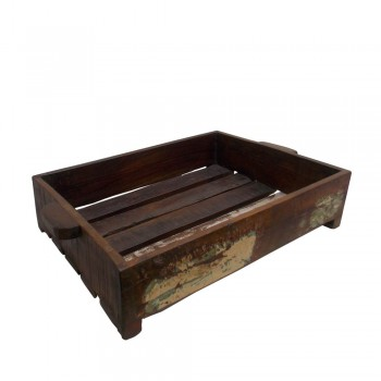 Rustic Finished Reclaimed Slatted Wooden Tray