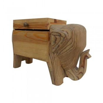 Pine Wood Elephant Poker Box
