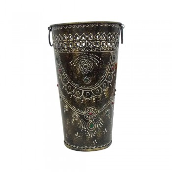 Dark Gray Painted Iron Bucket Flower Vase - Medium