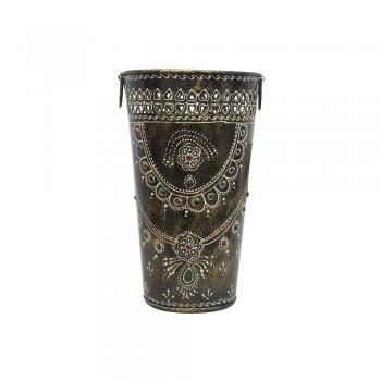 Dark Gray Painted Iron Bucket Flower Vase - Large
