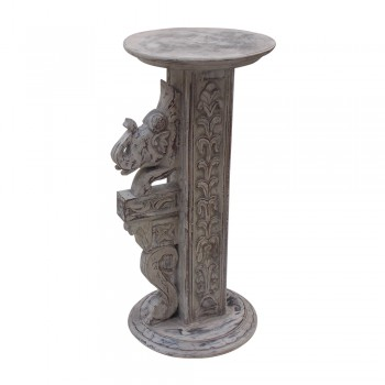 Carved Wooden Elephant Pillar - Distressed White