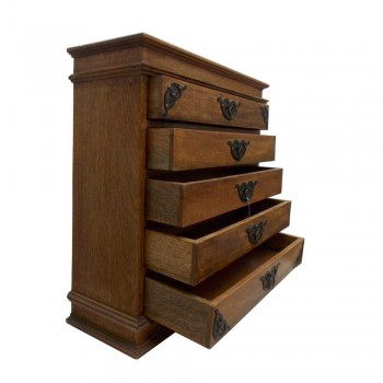 Five Drawers Decorative Utility Wooden Mini Chest - Embellished with Iron Hardwares