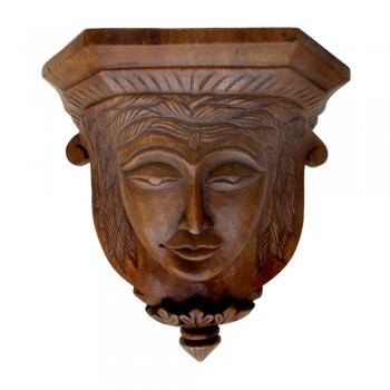 Teak Wood Antique Carved Face Shelf - Decorative Wall Piece
