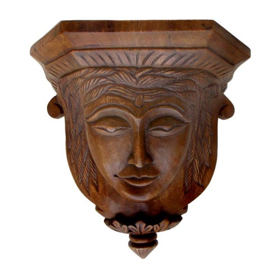 Teak Wood Antique Carved Face Shelf - Decorative Wall Piece