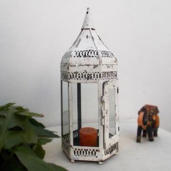 Distressed Iron Lamp - Hexagonal White