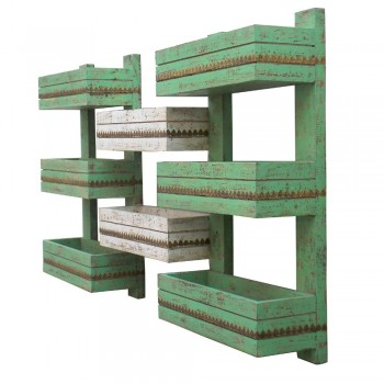 Wall Shelf, Distressed White & Green