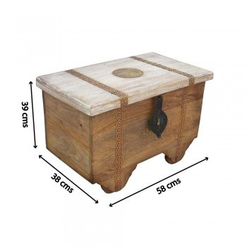 Four Wheels Wooden Treasure Box - Combination of Distress and Natural Finishes