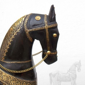 """Brown Polished Handcrafted Wooden Horse - Metal Fitted 24 """""""