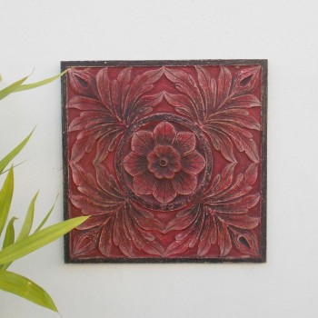 Carved Panel - Distressed Red