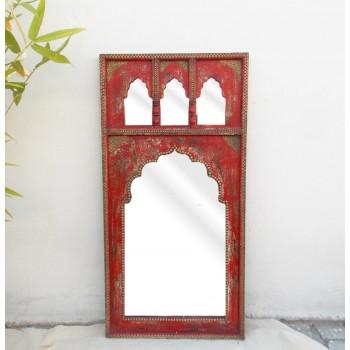 Mehrab Mirror Frame - Distressed Red