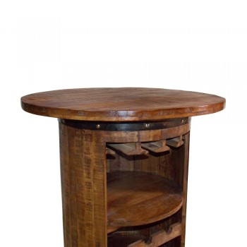 Round Wooden Barrel Wine Rack - Bar