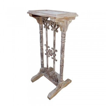 Distress White Wooden Lectern with Rustic cast-Iron Decor - Telephone Stand