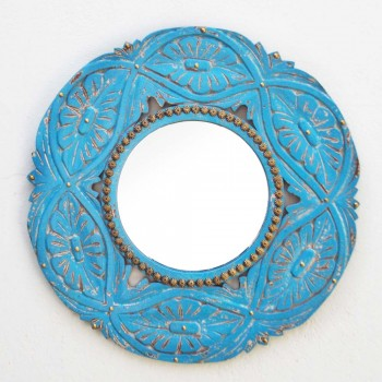 Distress Blue Painted Round Mirror Frame -  Wood Carving & Brass Art