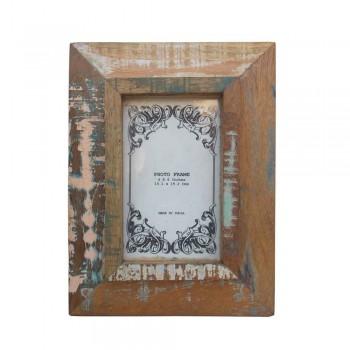 "Weathered Reclaimed Wood Photo Frame. Photo 4""x6""."