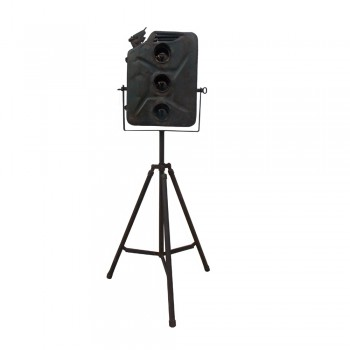 Jugaad Lamp- Diesel can converted into traffic signal lights mounted over collapsible tripod stand.