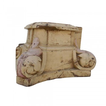 Old Wooden Pillar Candle - Carved