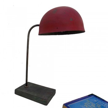 Iron Helmet Lamp - Vintage Distressed Red