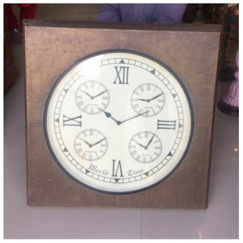 World Clock - Brass Sqaure 24x24