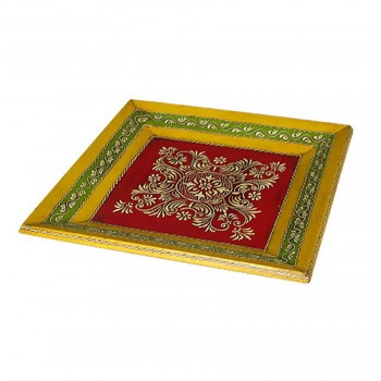 Hand Painted Tray - Platter Square Multi Colours