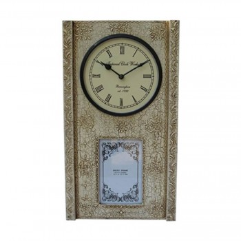 Clock With Photo Frame - Antique White