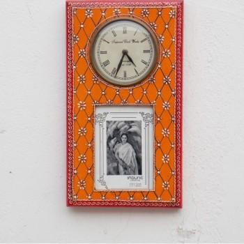 Clock With Photo Frame - Antique Orange