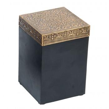 Square Wood Brass Box 4x4x6