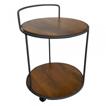 Two Tier Wood Metal Craft Round Trolley Table.