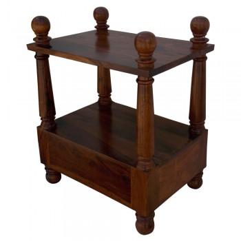 Wooden Sheesham Wood Pillar Bed Side - Rectangle