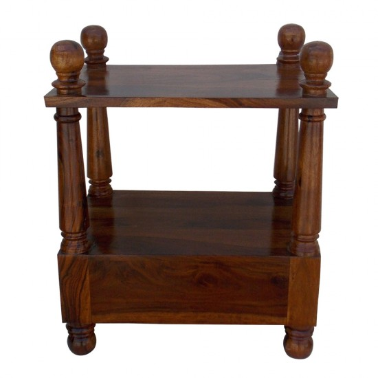 Wooden Sheesham Wood Pillar Bed Side - Rectangle