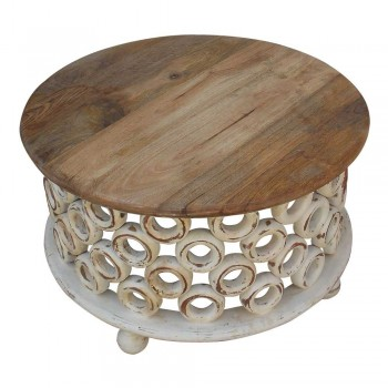 Distress White Donut Art Wooden Round Coffee Table