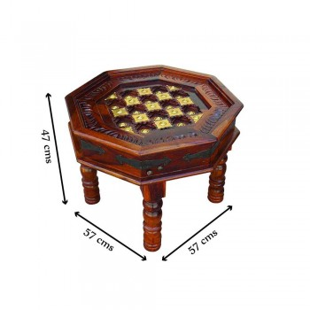 Indian Rose Wooden Craft Octagonal Table with Brass Art