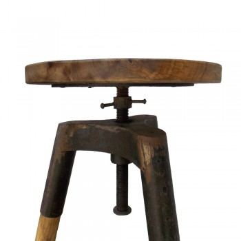 Tripod Stool with Handbeaten Iron Elements