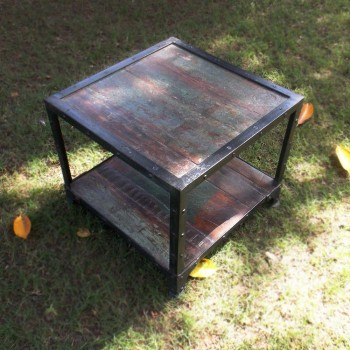 Reclaimed Wood Table Iron Frame - Square