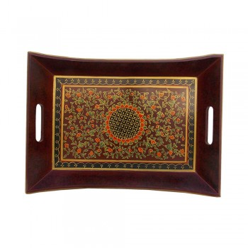 Red Floral Wooden Tray