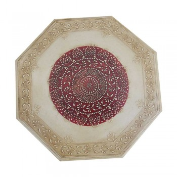 "Octagonal Painted Wooden Chowki - Small (12"" x 12"")"