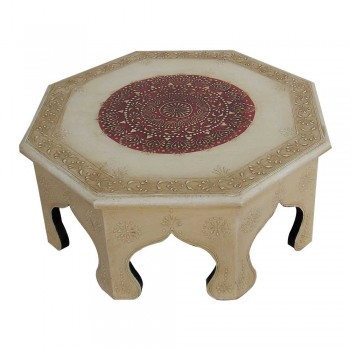 "Octagonal Painted Wooden Chowki - Small (14""x14"")"