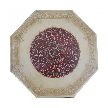 "Octagonal Painted Wooden Chowki - Small (16"" x 16"")"
