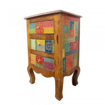 Three Drawers Cabinet/ Bed Side in a classy combination of honey polish and colorful geometrical motifs