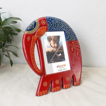 Assorted Painted Elephant Photo Frame - Wooden