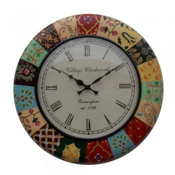 "Block Print Inspired Wall Clock 18"""