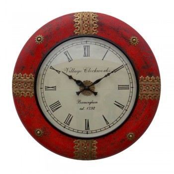 """Distressed Painted Time Piece (Red) 18"""""""