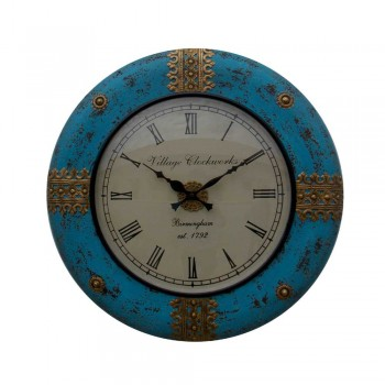 """Distressed Painted Time Piece (Blue) 18"""""""