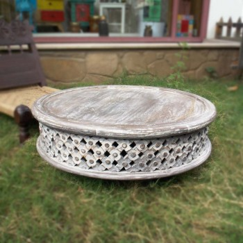 Hand Carved Distress Low Table - Rustic (Coffee Table)